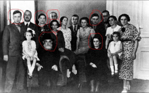 Hava and David Pizyc, my paternal great-grandparents with their children and some of the grand-children. Those circled in red did not survive the Holocaust.